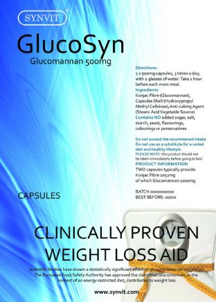 Glucomannan Konjac Fibre 500mg GlucoSyn SYNVIT® Clincally Proven WEIGHT LOSS AID